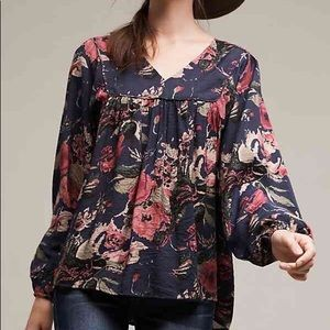 Anthropologie Anama Calendula Floral Tunic Top